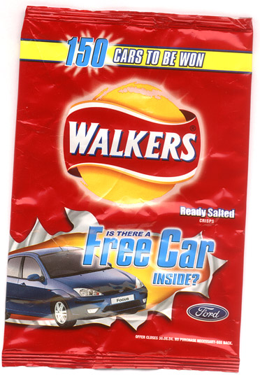 Walkers crisps 'is there a free car inside'